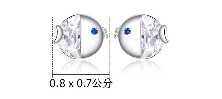 超療癒啾啾小魚 925純銀鋯石耳環(小尺寸)