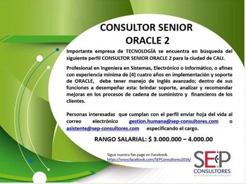 Empleo en Cali hoy Consultor Senior Oracle 💼 2