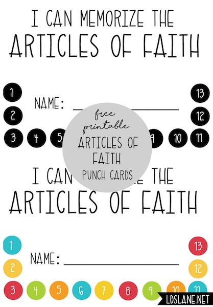 Articles of Faith punch cards - free download - ldslane.net