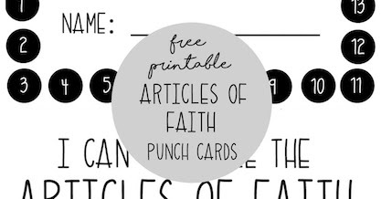 Articles of Faith Punch Cards