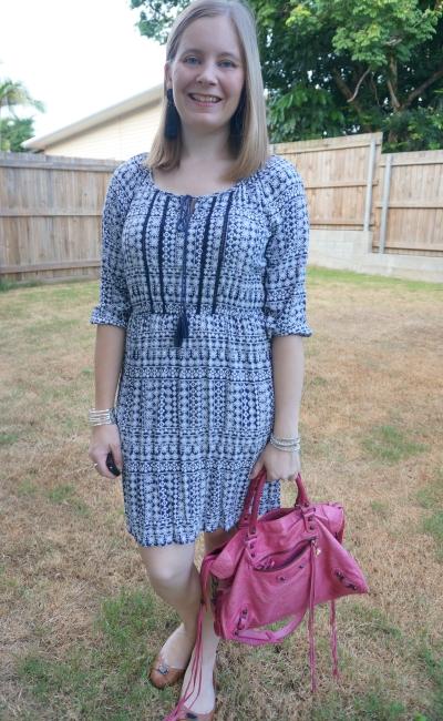 Jeanswest 'Chelsea' boho peasant navy printed dress with tassel earrings pink Balenciaga city bag | awayfromblue