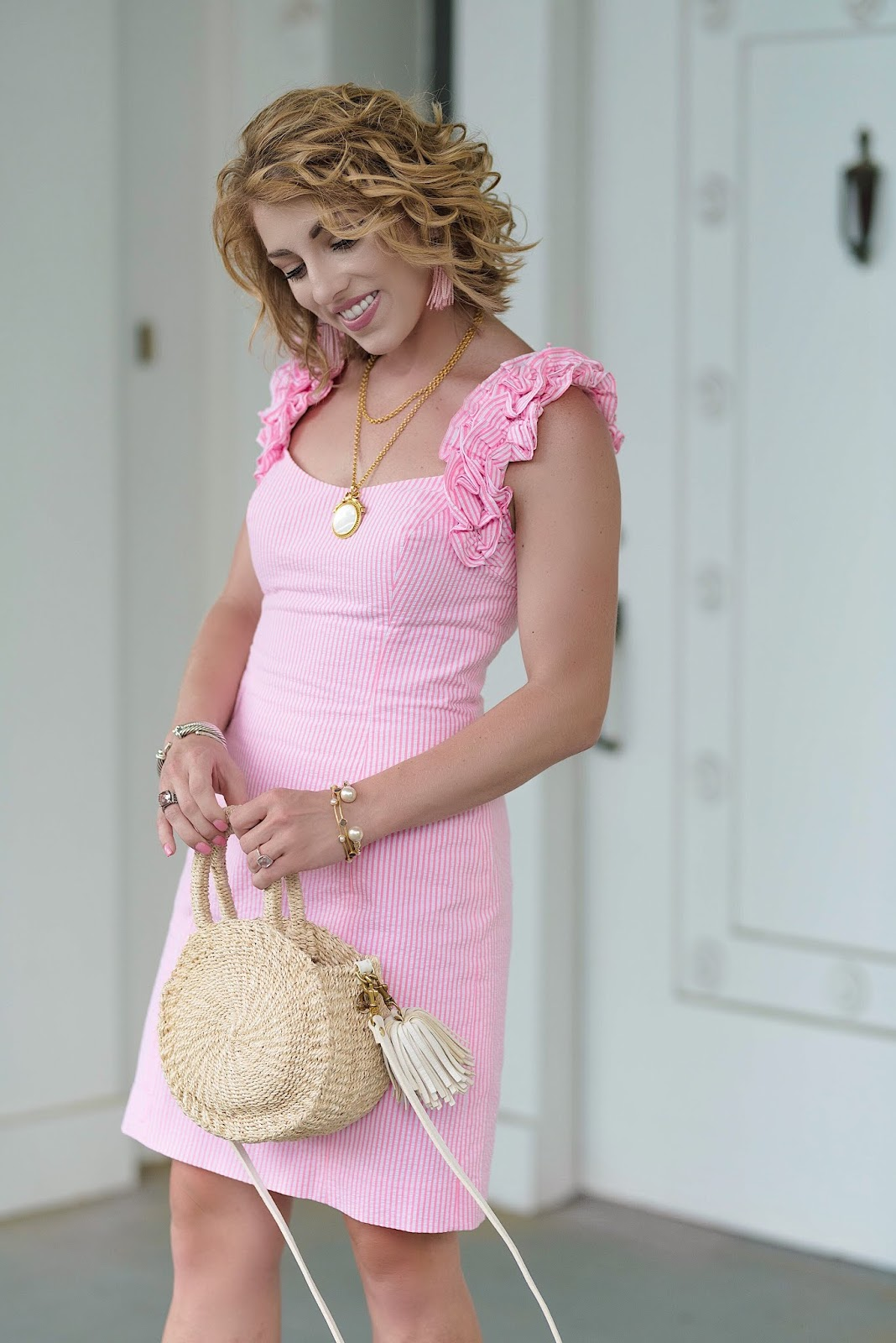 Lilly Pulitzer Devina Dress in Pink Cosmo Seersucker - Something Delightful Blog