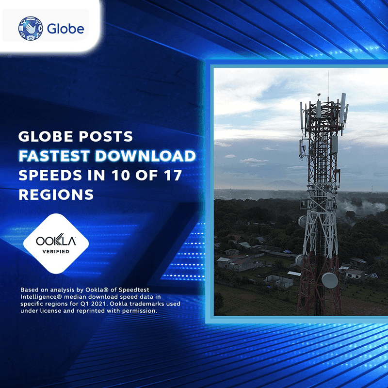 Ookla: Globe has the fastest download speeds in 10 out of 17 regions in PH (Q1 2021)