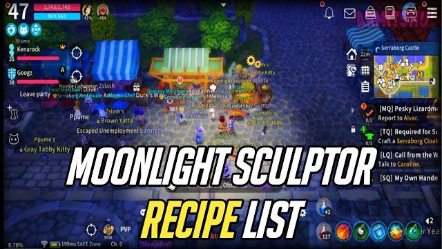Moonlight sculptor recipe list