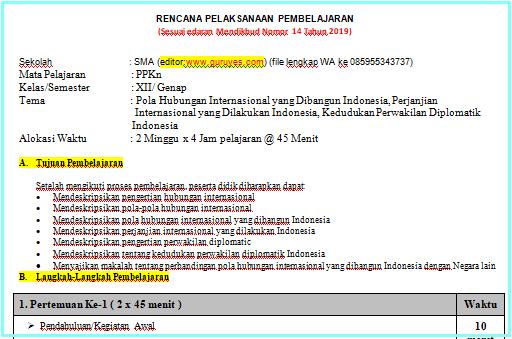 RPP 1 Lembar PPKn SMA/SMK Kelas 12 Semester 2
