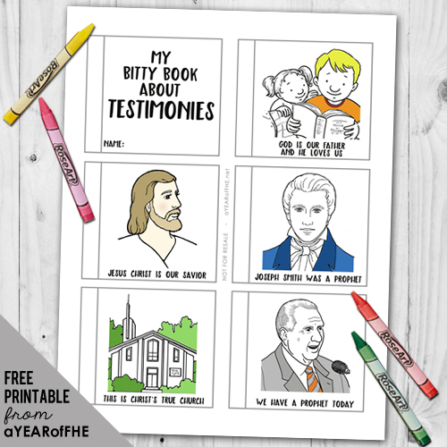 A free Mini Bok teaching kids about the parts of a Testimony.  Have kids color the pages, cut out, and staple together.  Great for Family Homne Evening or a quiet Sacrament Meeting activity.  #lds #coloring#