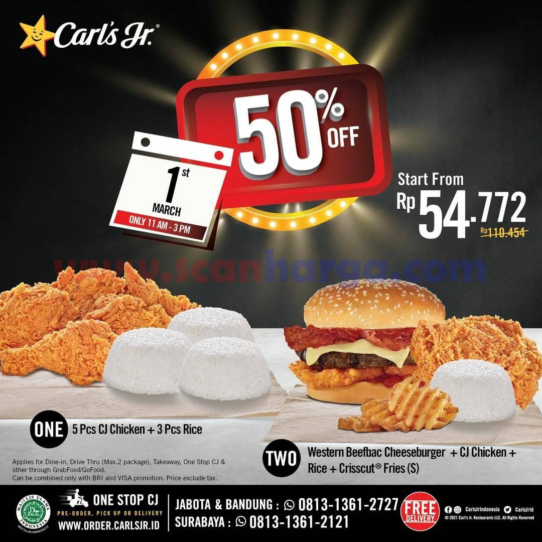 Promo CARL'S JR HARI INI! DISKON 50% untuk semua Menu