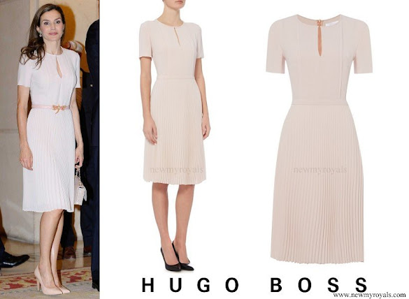 Queen Letizia wore Hugo Boss Diblissea Pleated Skirt Occasion Dress