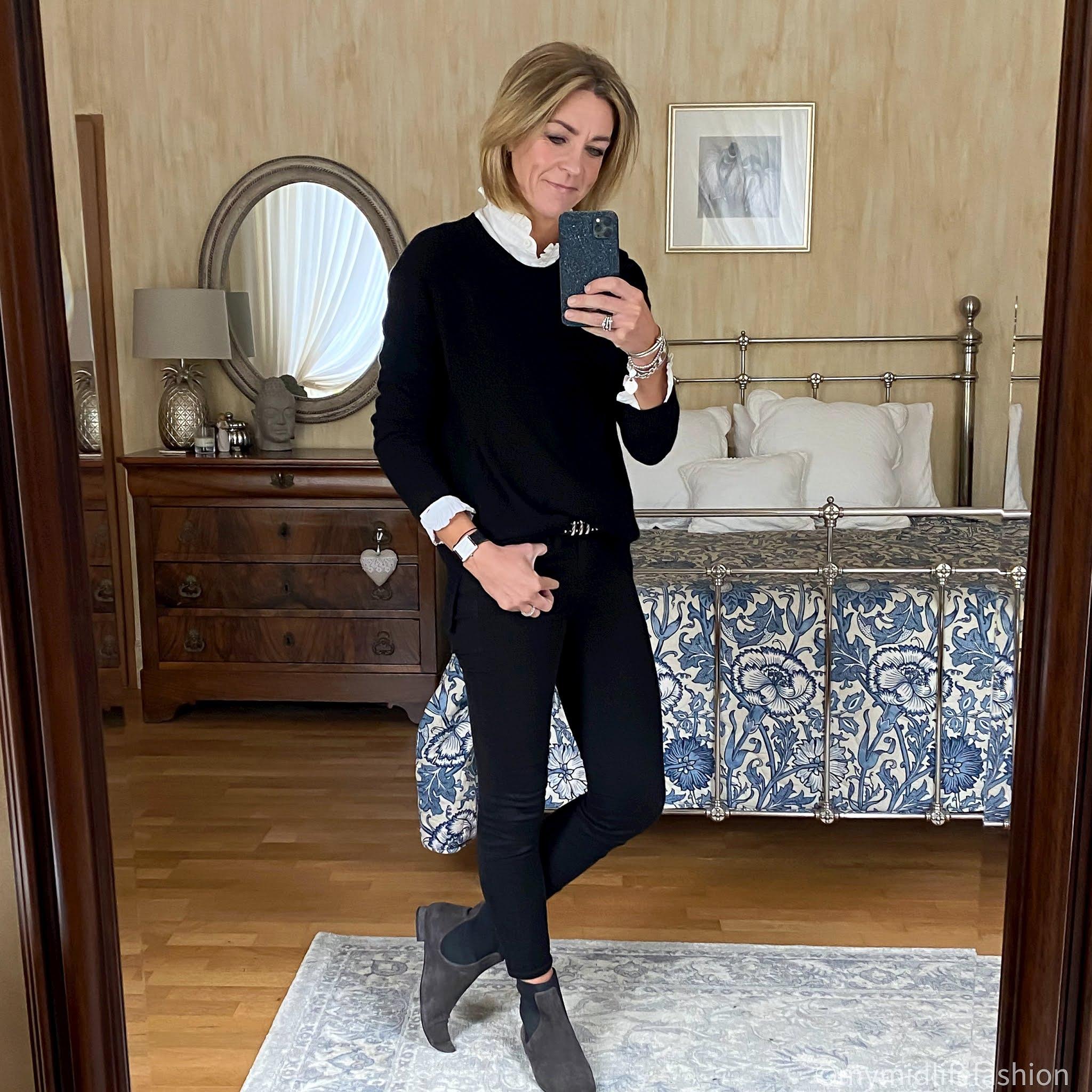my midlife fashion, hush cashmere  boyfriend jumper, j crew 8 inch toothpick jeans, Madeleine pixie boots