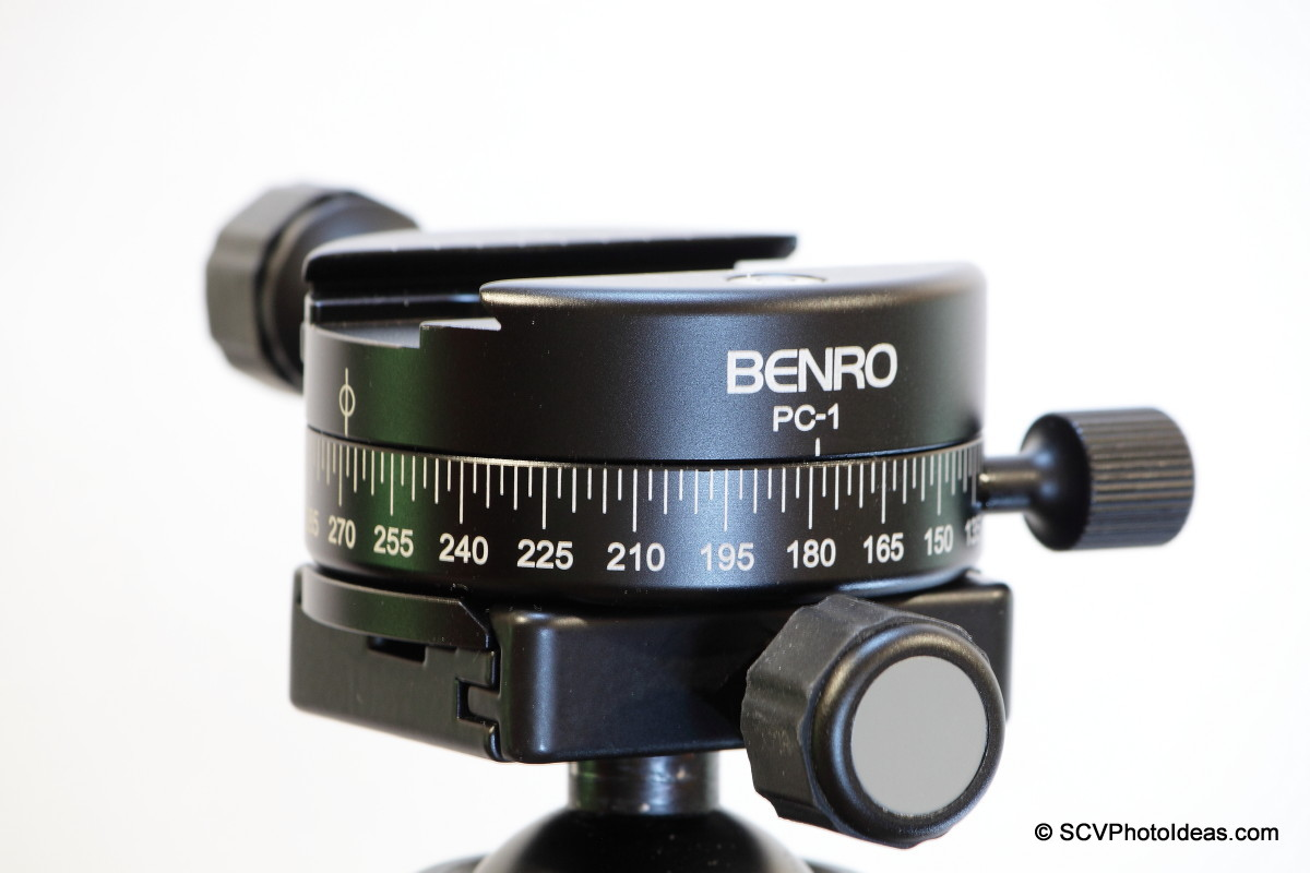 Benro PC-1 on Benro B-2 ball head via dovetail plate - (detail)