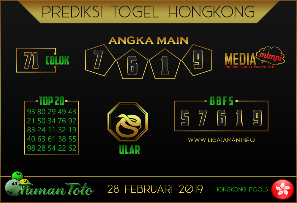 Prediksi Togel HONGKONG TAMAN TOTO 28 FEBRUARI 2019