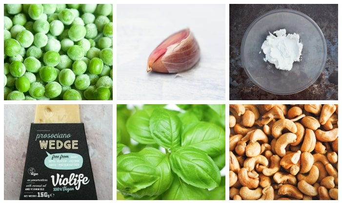 a grid of ingredients for pea pesto