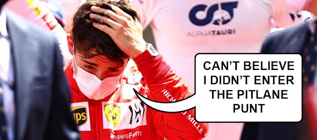 """A disconsolate Charles Leclerc saying """"Can't believe I didn't enter the Pitlane Punt"""""""