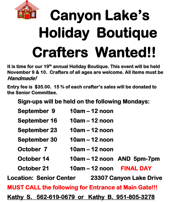 Vendors sought for Canyon Lake Holiday Boutique | Menifee 24/7