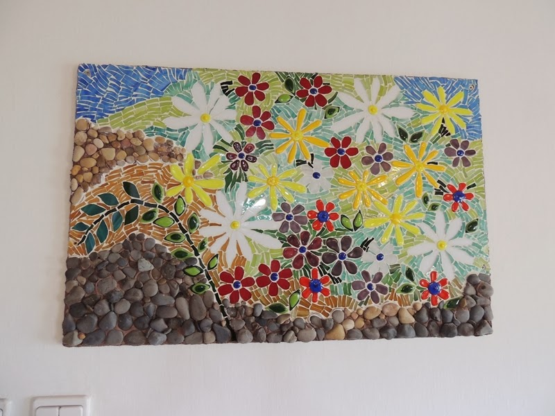 Stained glass flower mosaic by artist Meirah Brezner