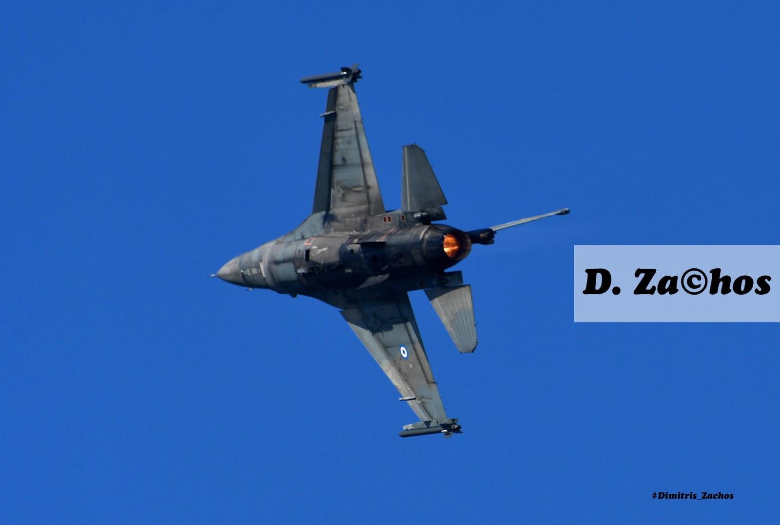 """Δοκιμαστική πτήση της Ομάδας Αεροπορικών Επιδείξεων F-16 της Π.Α. """"Ζευς"""" στη Θεσσαλονίκη."""