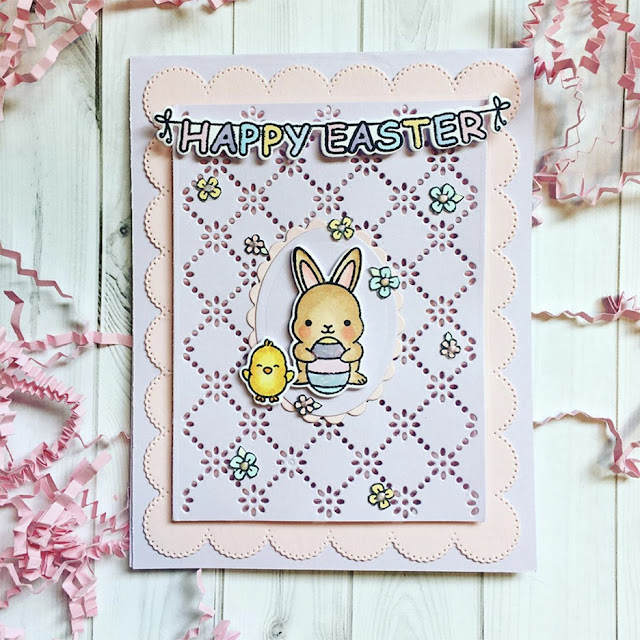 Sunny Studio Stamps: Chubby Bunny Frilly Frame Dies Customer Card by Kirsty Ann