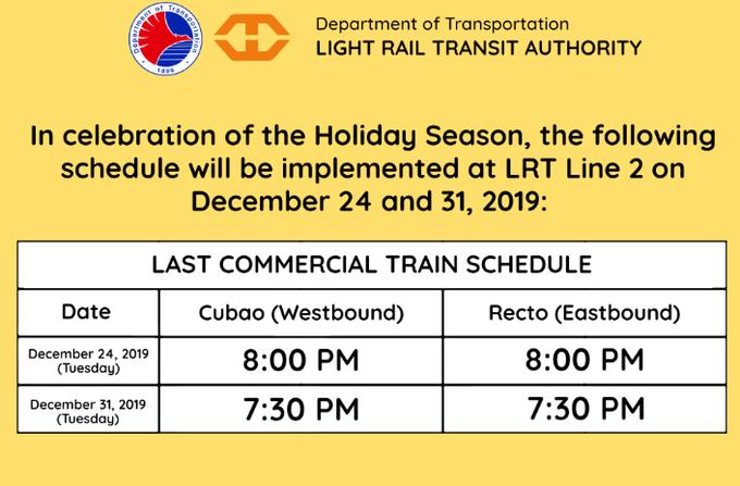 LRT-2 Holiday Schedule