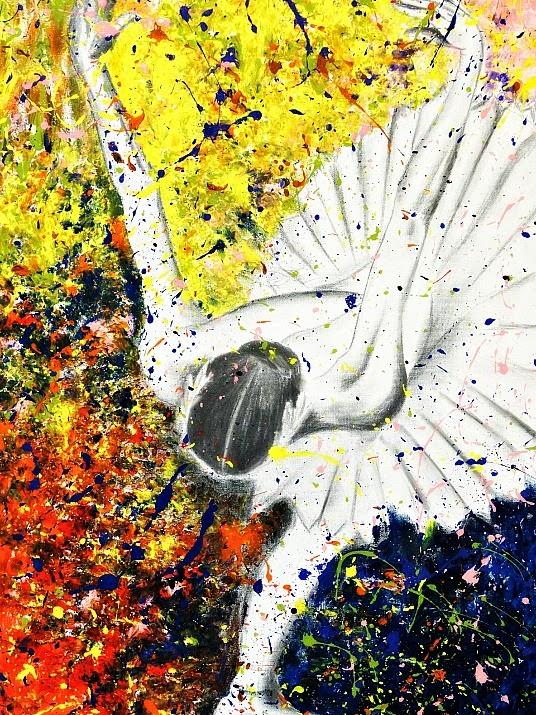 Cena de dança pintada por um ex-aluno da Escola Bolshoi de Joinville.