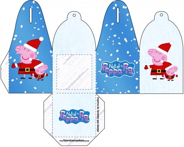 Caja para cupcakes, chocoltes o golosinas de Peppa Pig en Navidad.