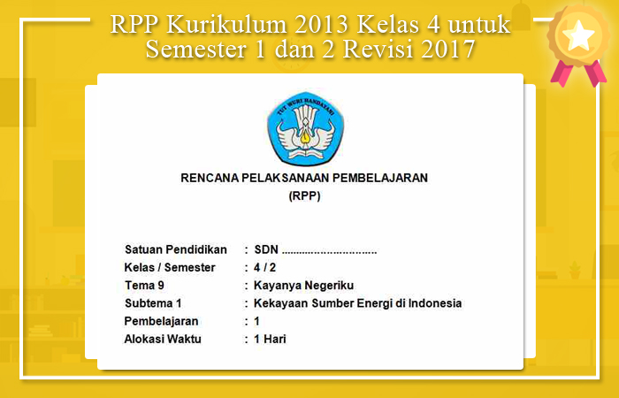 RPP K13 Kelas 4 Semester 2 Revisi 2017