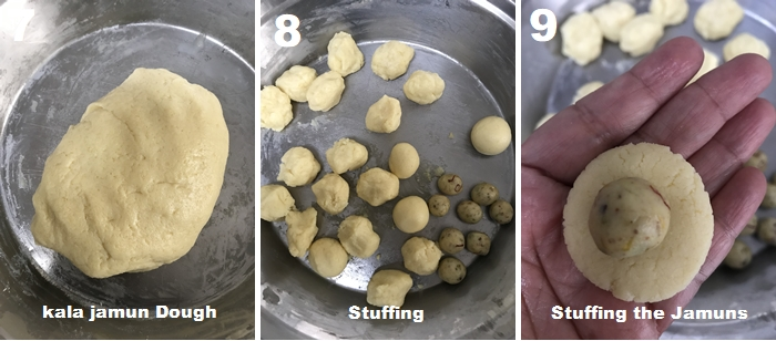 Kala jam stuffing made with nuts, saffron and khoya.