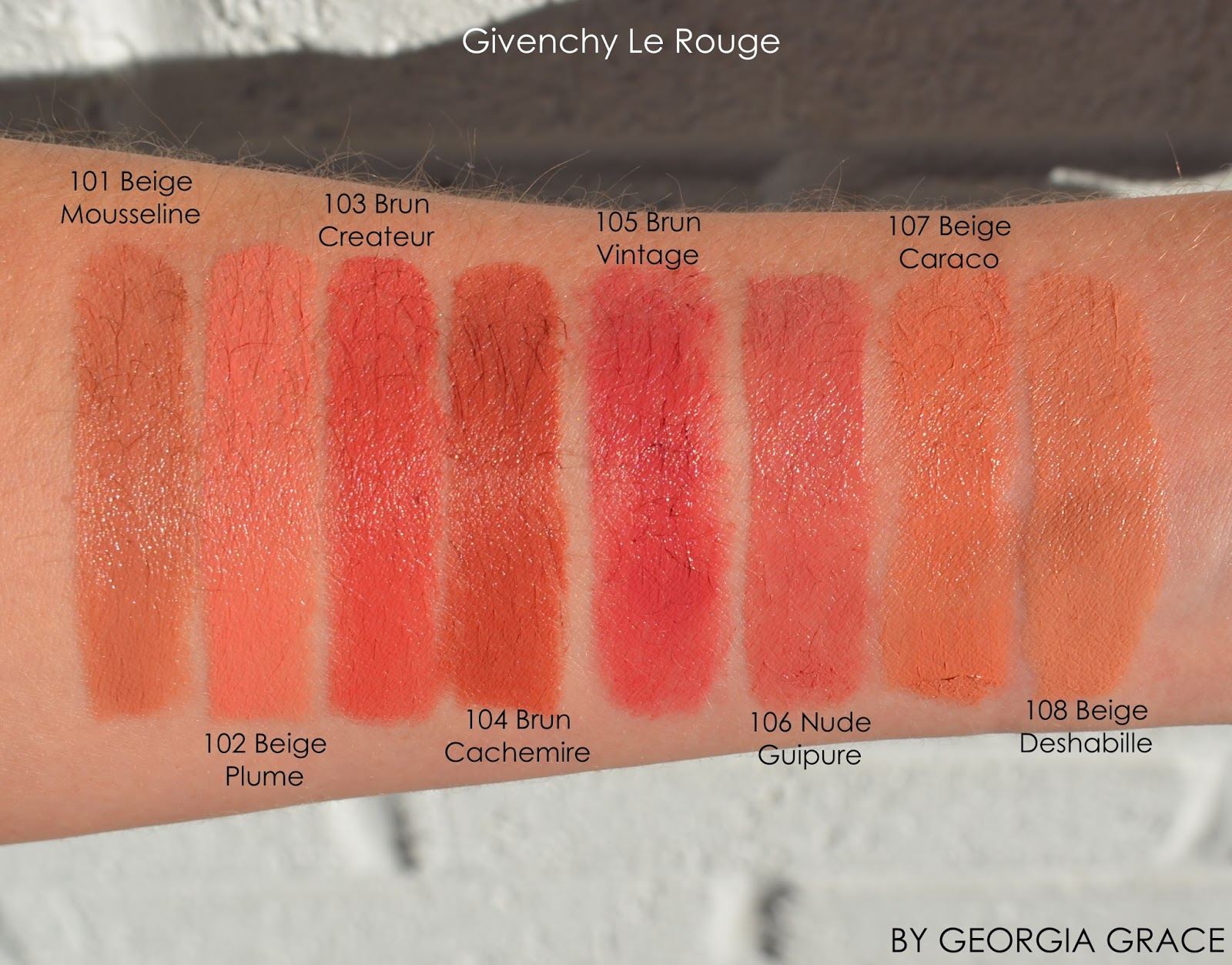 Givenchy Le Rouge Swatches of All Shades