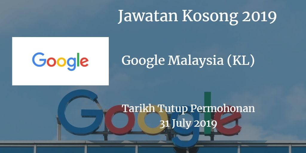 Jawatan Kosong Google Malaysia (KL) 31 July 2019