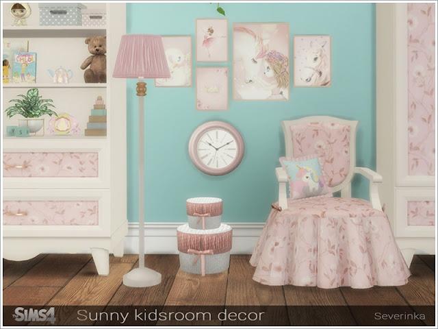 Sunny kidsroom decor Солнечный детский декор для The Sims 4 Набор декора для детской комнаты в романтическом стиле. В набор входят 8 предметов: - диванные подушки - диванная подушка - постельная подушка - постельное одеяло - настенные часы - круглая коробка - круглая коробка маленькая - постеры Автор: Severinka_