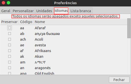 excluir idiomas que nao sao usados no ubuntu com bleachbit