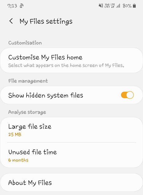 Enable show hidden files in file manager