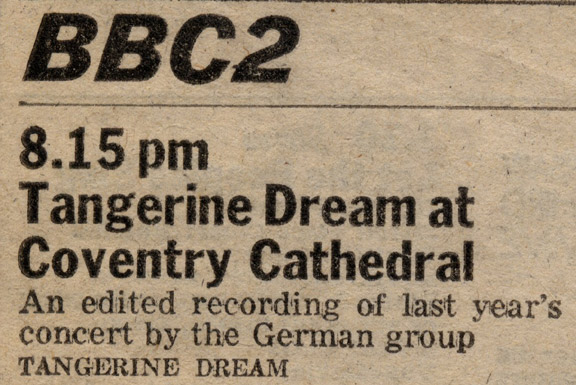 The Zest: Tangerine Dream at Coventry Cathedral - the real recording