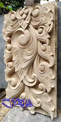 Ukiran batu alam putih untuk tempel tiang pilar motif bali