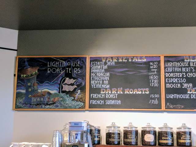 Coffee in Seattle's Fremont neighborhood: Lighthouse Roasters menu board