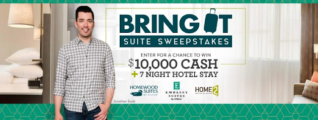 HILTON & HGTV want you to enter daily to win TEN THOUSAND DOLLARS CASH along with a seven day Hilton hotel stay to book a SUITE trip!