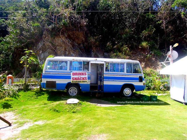 A bus at the entrance of Amco Beach Resort in Baler