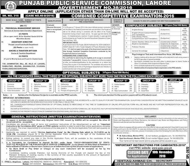 PMS Jobs in Punjab Public service Commission Jobs
