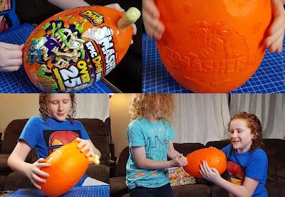 my two boys trying to crack open the Zuru Toys Smashems Mega Dino Egg