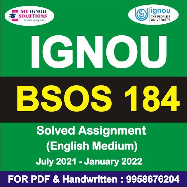 BSOS 184 Solved Assignment 2021-22