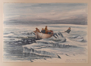 Watercolor of small whaling boat being cut through the ice