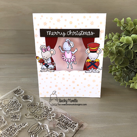 Merry Christmas by Becky features Petite Snow, Frames Squared, The Nutcracker Squeak, and Newton's Christmas Kittens by Newton's Nook Designs; #newtonsdesigns