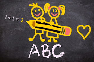 childres drawing of a b c