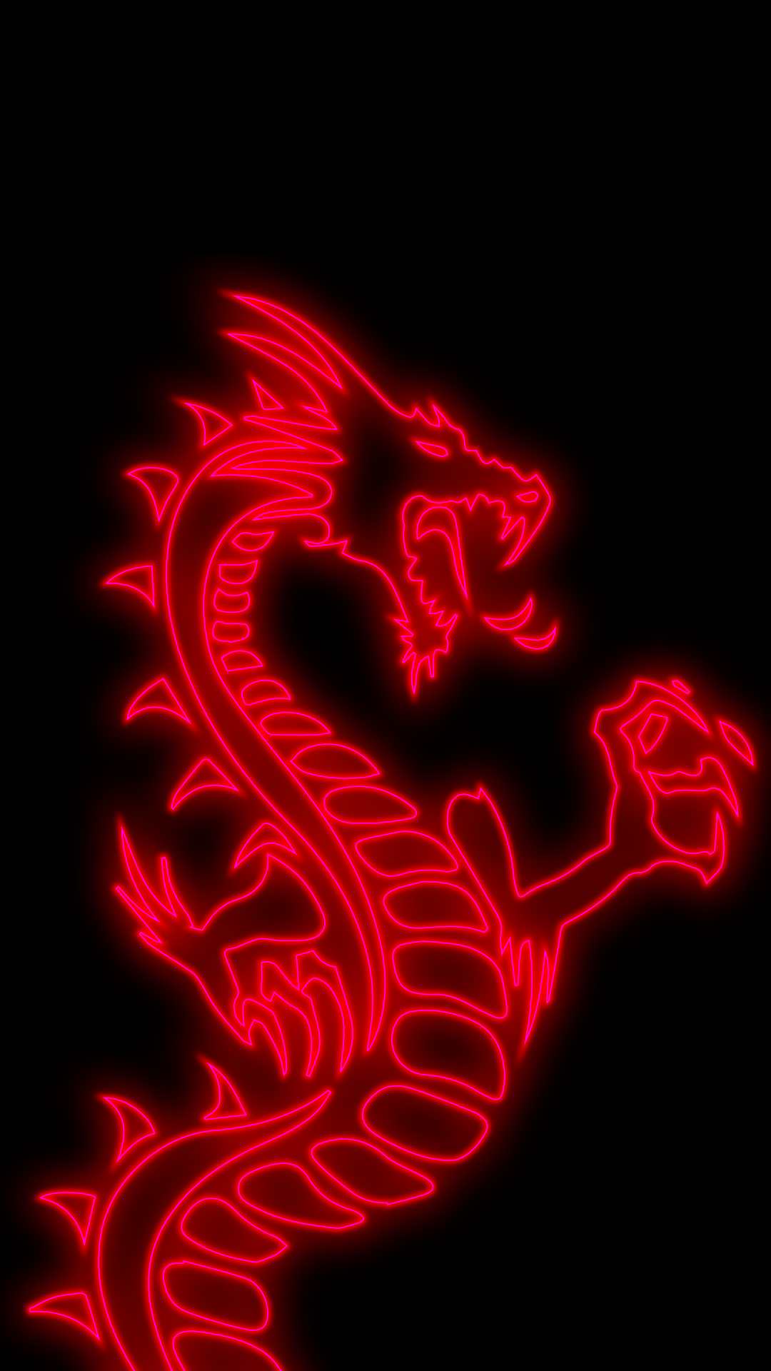 amoled neon red dragon mobile background hd
