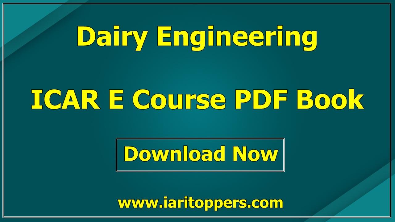 Dairy Engineering ICAR e course PDF Book Download E Krishi Shiksha