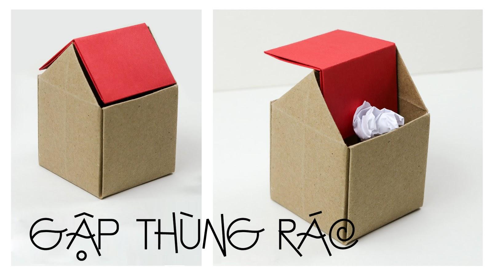 Hướng dẫn gấp thùng rác để bàn siêu Cool - Ai Khéo Tay - photo#35