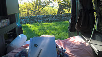Stippling a Hawthorn leaf in spring time, Rachel M Scott