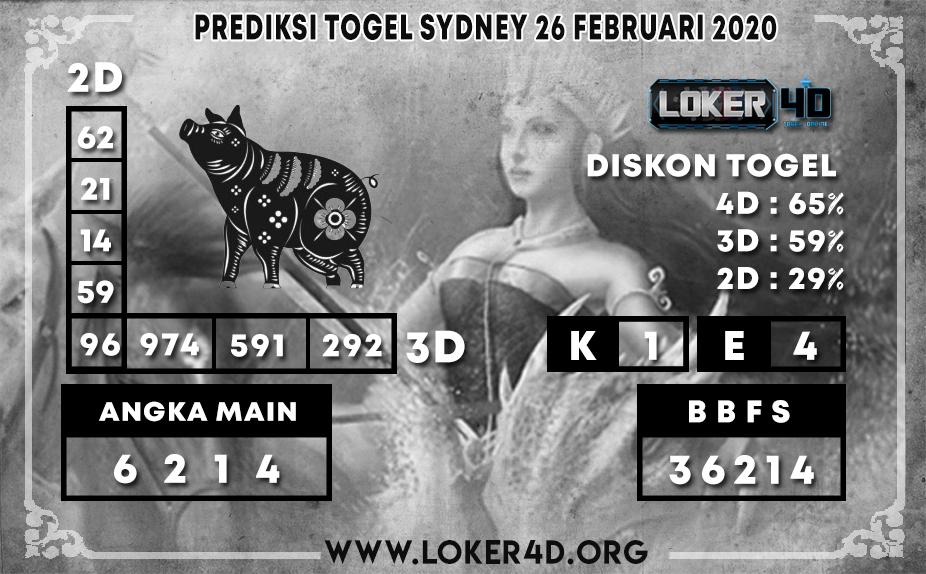 PREDIKSI TOGEL SYDNEY LOKER4D 26 FEBRUARI 2020