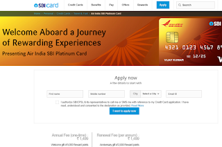 Air India SBI Platinum Card, How to Apply SBI Credit Card Online