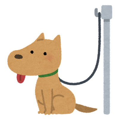 リードフックにつながれた犬のイラスト