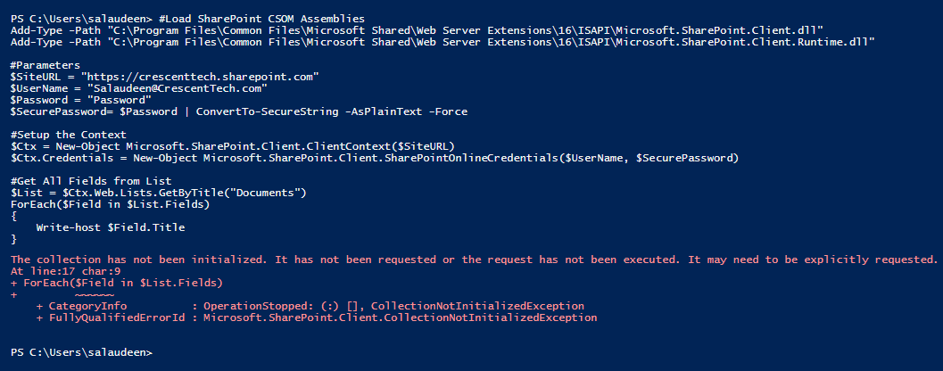 sharepoint online powershell the collection has not been initialized